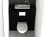 Rendering of WiCi Next space-saving wall-mounted toilets with compact hand wash basin, black framing