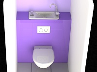 Rending of a compact WiCi Next basin integrated to wall-mounted toilets, purple casing