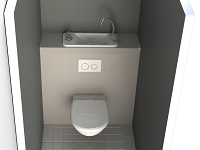Rending of the WiCi Next compact water-saving hand wash basin integrated to wall-hung toilets