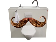 WiCi Boxi wall-mounted toilets with integrated hand wash basin, Moustache framing (photo montage)