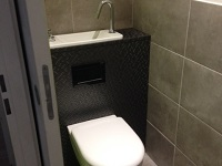 Wall-hung toilets and compact sink combo WiCi Next - M. J by Techno Rénov Atlantic (France - 33) - 1 of 2