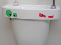 WiCi Concept hand wash basin adaptable on already installed toilets, eyes sticker, ACJF exhibition (France - 25), 2 of 2