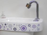 WiCi Concept hand wash basin, psyche cercles sticker, ACJF exhibition (France - 25), 2 of 2