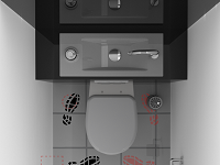Rendering of the access to a WiCi Bati wall-mounted WC with sink