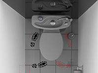 Rendering of the access to a WiCi Concept hand wash basin