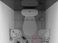 Rendering of the access to a WiCi Mini small hand wash basin for toilets on its wall stand, lateral remote position