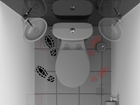 Rendering of the access to a WiCi Mini small hand wash basin for toilets on its wall stand, lateral position