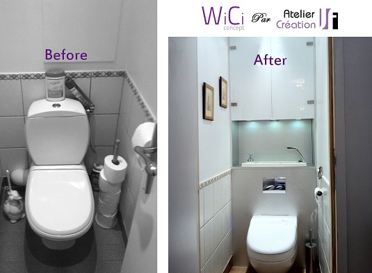 Before and after the installation of a WiCi Bati space-saving wall-mounted toilets with hand wash basin