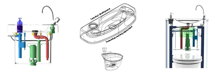 Drawings of the toilet with built-in basins